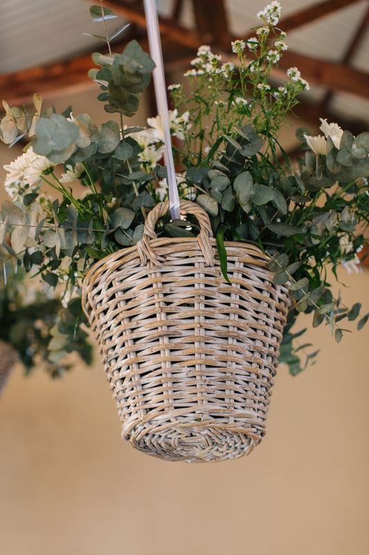 hanging basket full of flowers can be used anywhere, from your arch to your reception