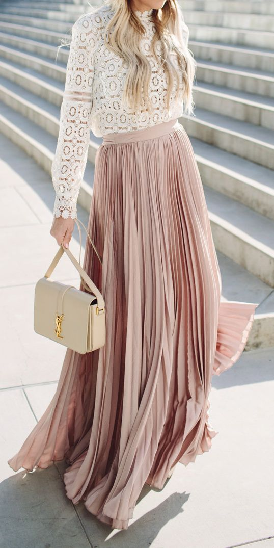 blush pleated maxi and a crochet lace top