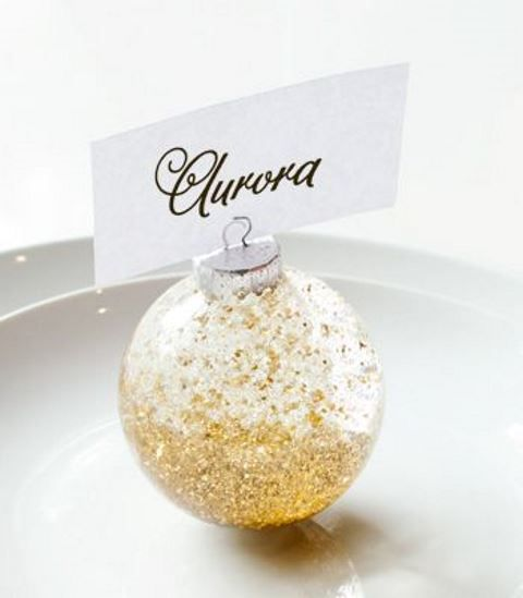 glitter ornament place card holders