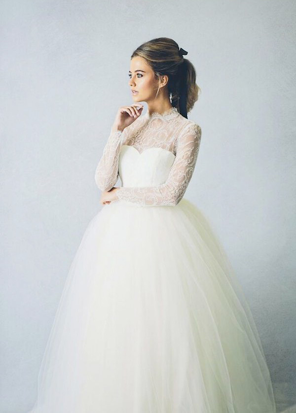 illusion neckline A line wedding dress with a tulle skirt
