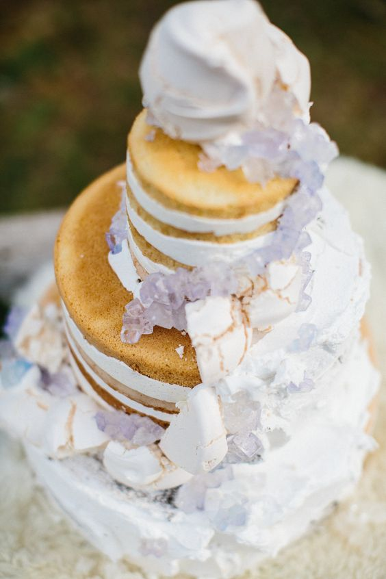 naked wedding cake with sugar crystals is a very delicate cakery piece