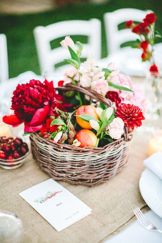 summer basket centerpiece filled with fruit and flowers