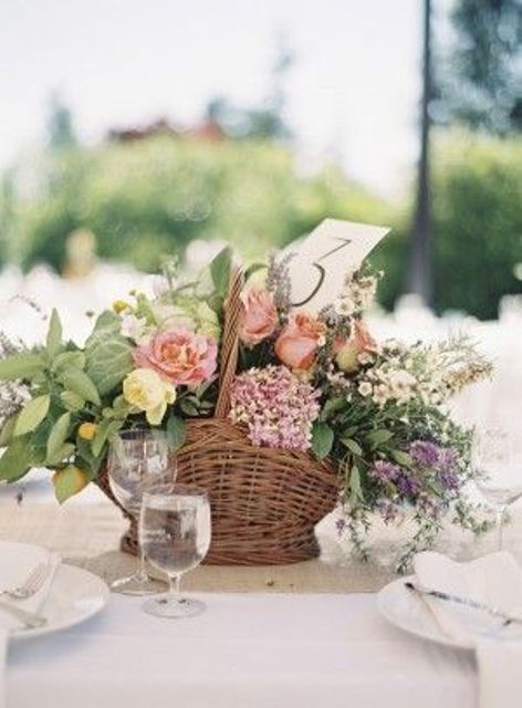 rustic flower wedding centerpiece in a basket