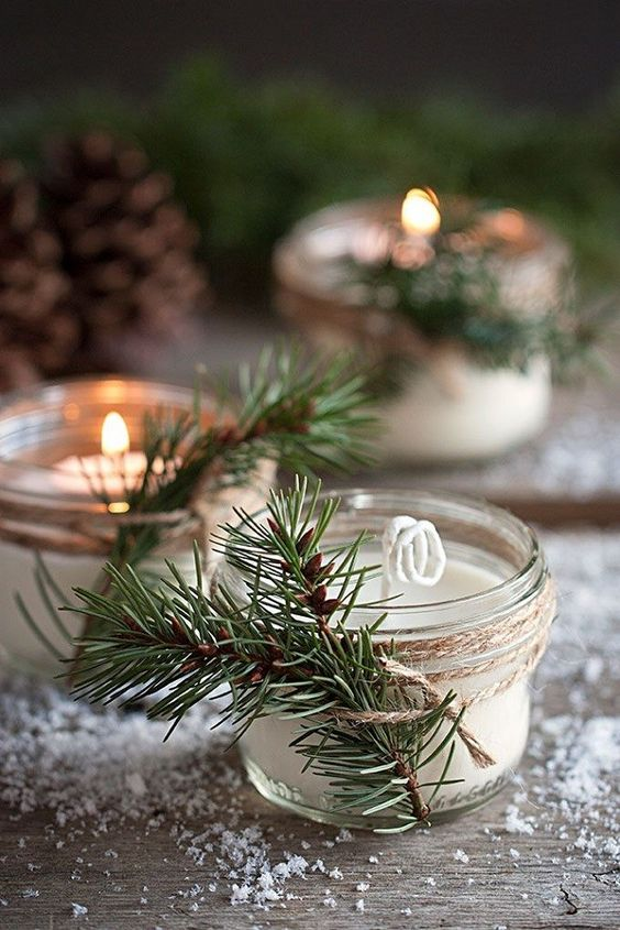 candles in jars with a fir branch, just give them a Christmas scent