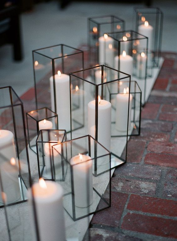 cube candle lanterns for your wedidng aisle wil bring a modern touch
