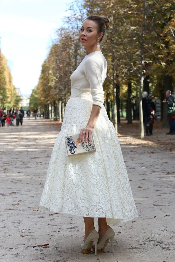 lace midi skirt, a white sweater and heels