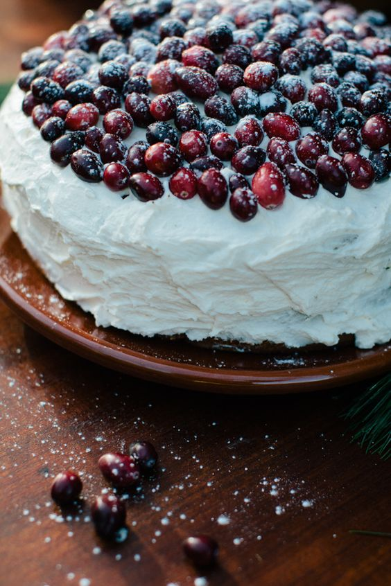 one layer cake topped with fresh cranberries