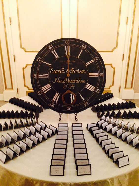 a clock as a centerpiece for a card table