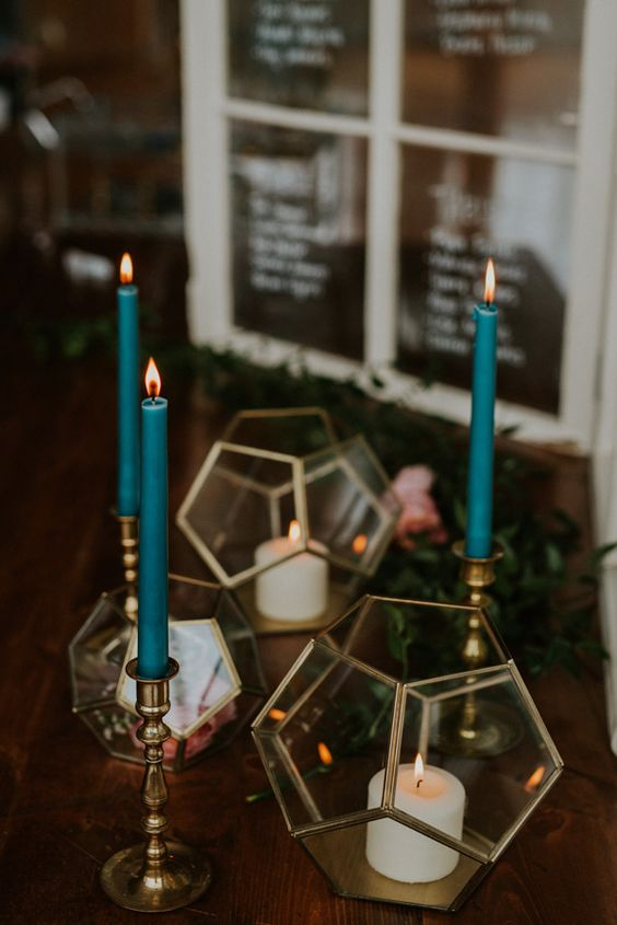 geometric metallic candle holders add a vintage touch to your decor