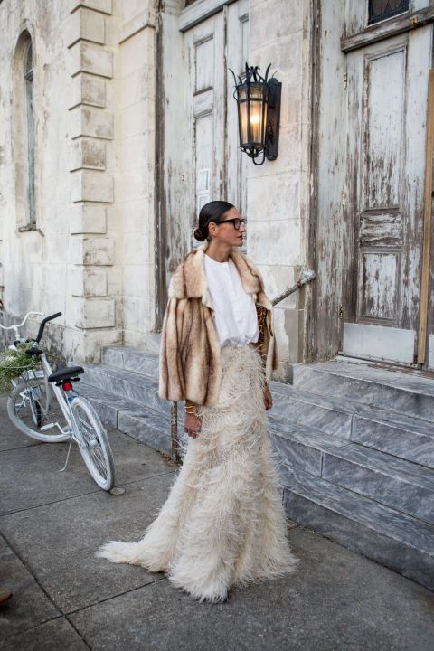 neutral look with a faux fur maxi and a fur coat as a stylish coverup