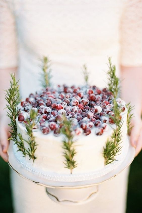 one-tier wedding cake decorated with fir and cranberries