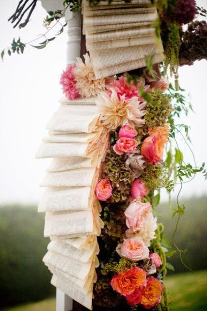 overflowing books wedding decor for a wedding arch