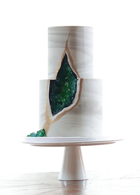 sugar geodes and quartz green and gold tiered wedding cake