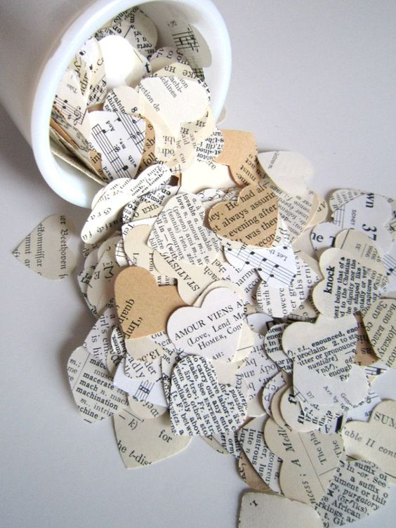 book page heart instead of usual confetti