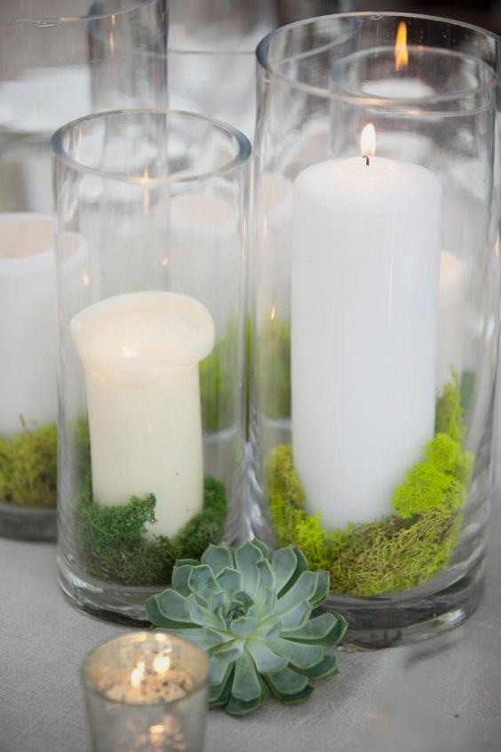 put moss inside candle holders to make them look woodland inspired