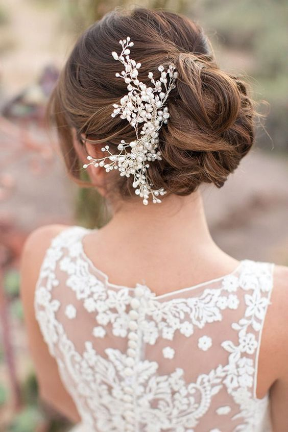 gorgeous pearl headpiece spruces up this updo