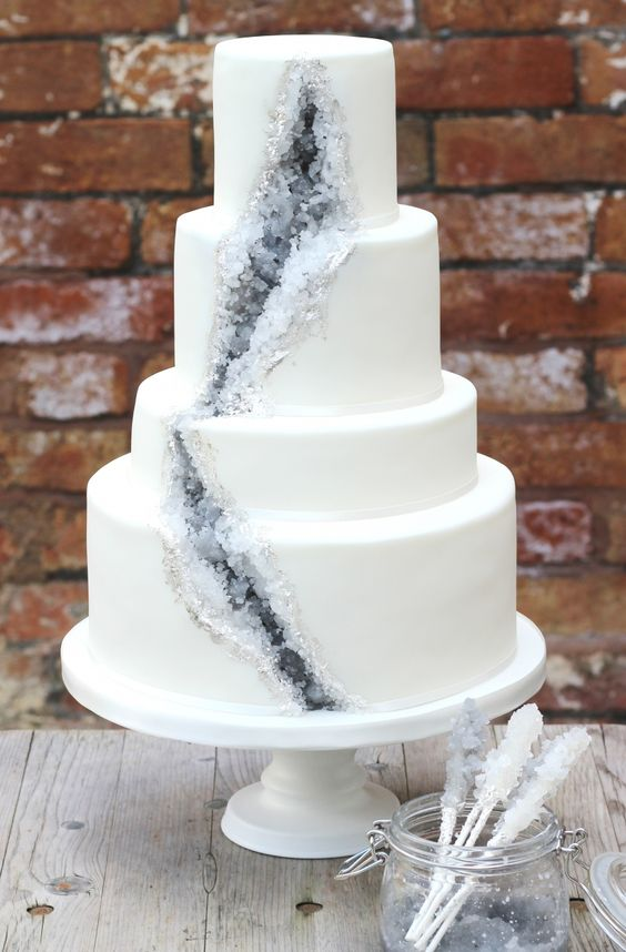 wedding cake with grey sugar geode decor