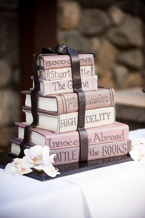 blush stacked books wedding cake