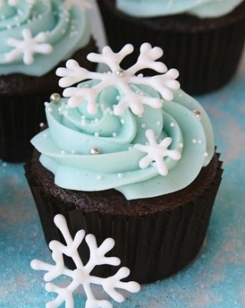 chocolate cupcakes with ice blue frosting and snowflakes