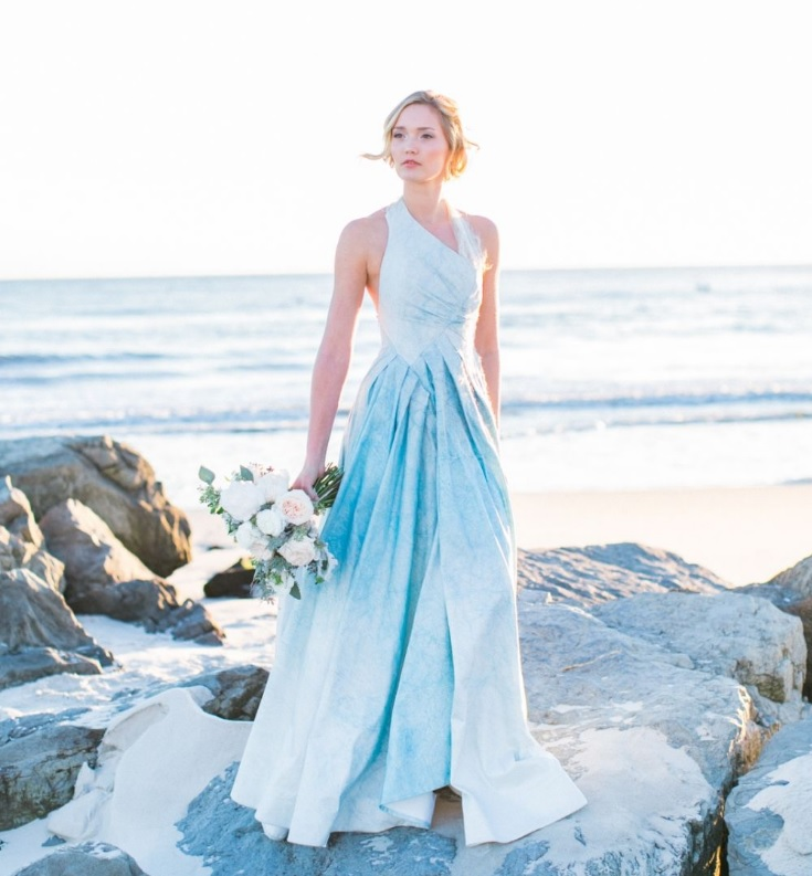 such an ombre frosty blue dress is ideal for a snowy coastal wedding