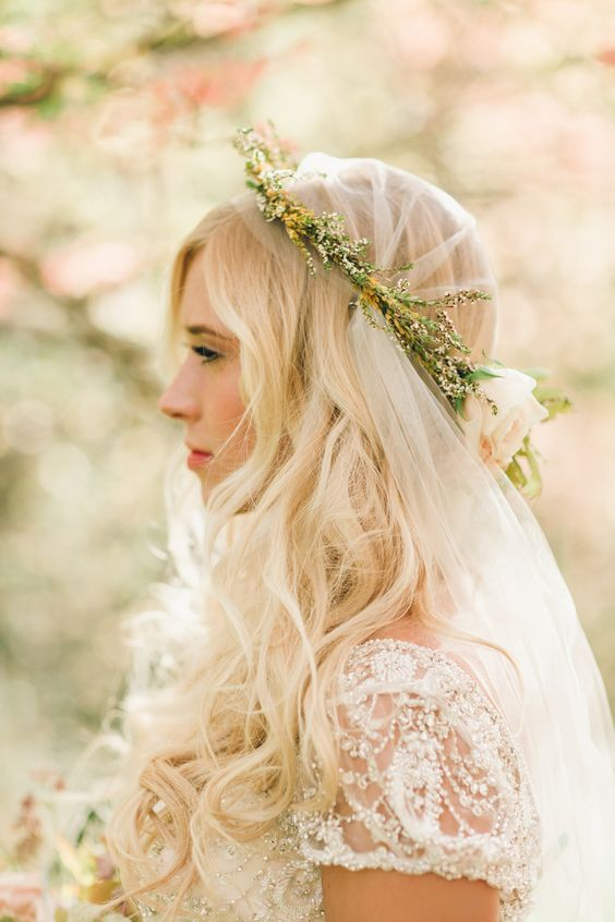 use a floral crown to make a juliet cap veil