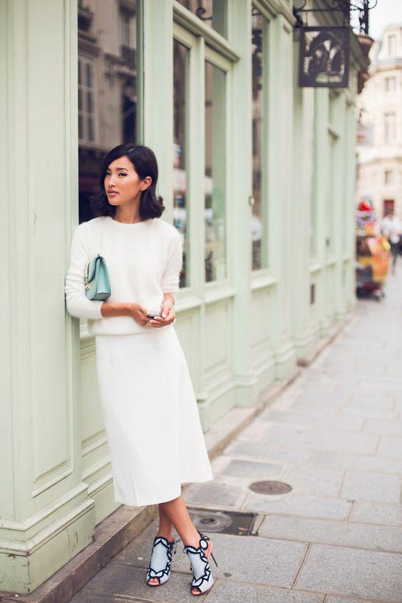 white midi, a white angora sweater, peep toe heels