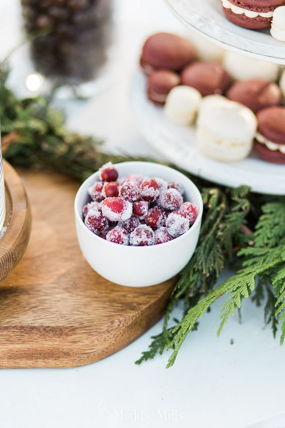 yummy sugared cranberries are a perfect winter wedding snack