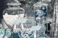 31 blue and silver sweets bar will help you to highlight the theme of your wedding