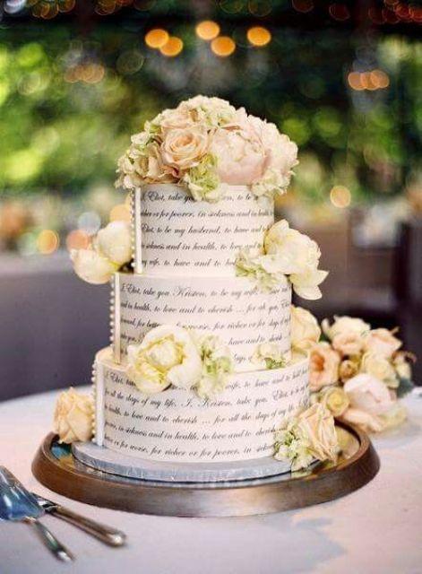 Three Open Book Wedding Cake
