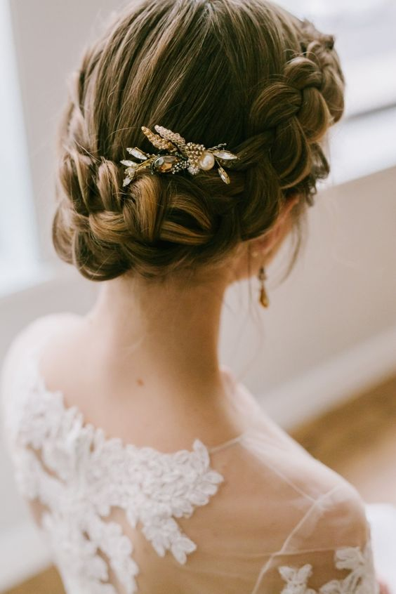 braided updo with a small honey-colored bead accessory