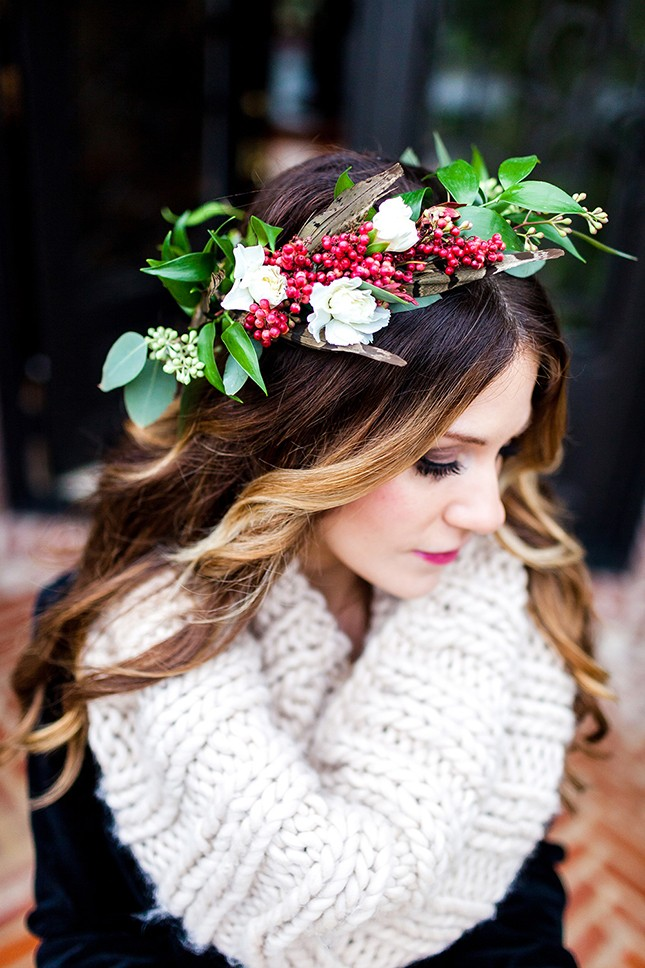the leaves and berries in this gorgeous winter crown add a creative touch and an extra homage to the season