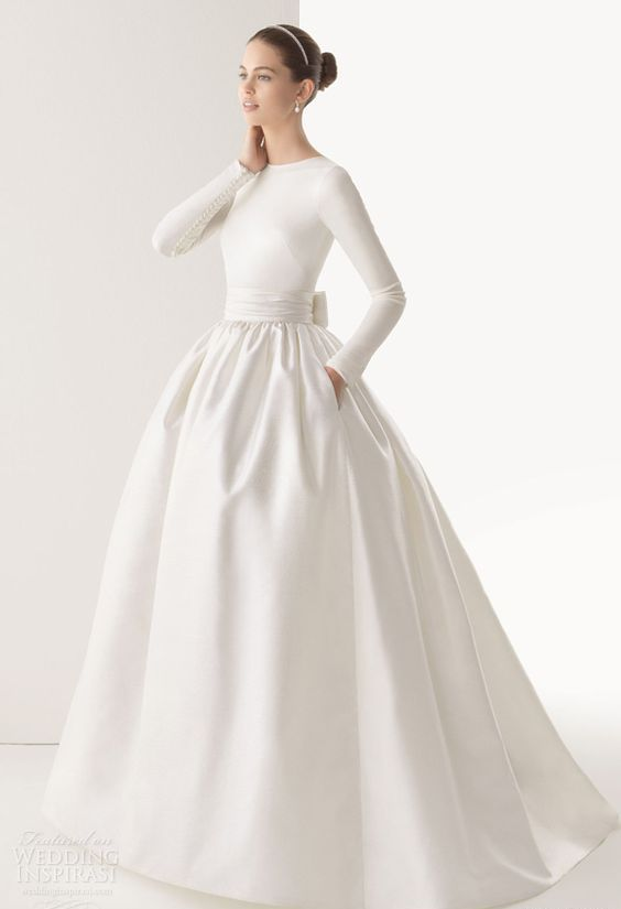 bridal separate with a plain top and a satin skirt