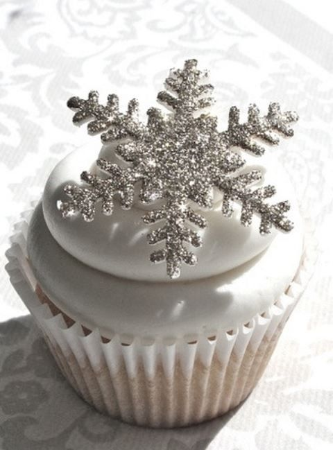 silver snowflakes instead of cupcake toppers