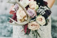 33 add antlers to your bouquet to make it look woodland-inspired