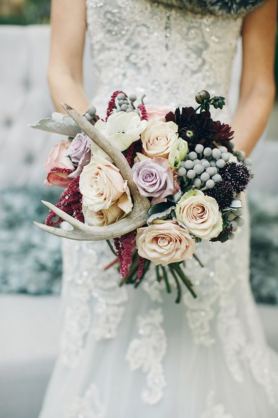 add antlers to your bouquet to make it look woodland-inspired