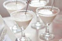 33 frosted glasses with snowflake stirrers