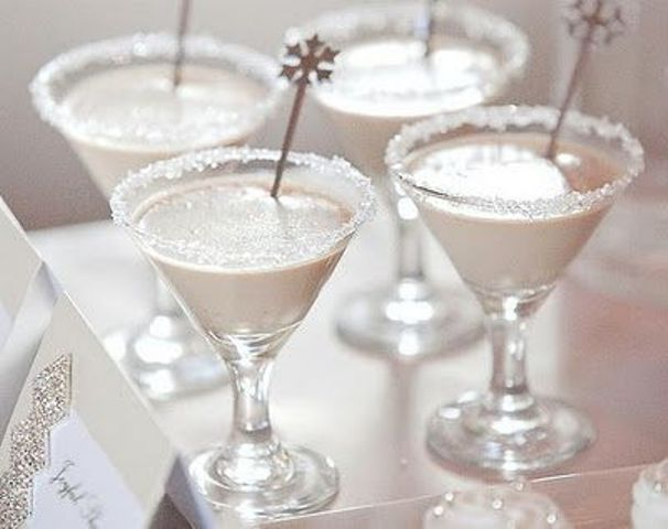 frosted glasses with snowflake stirrers