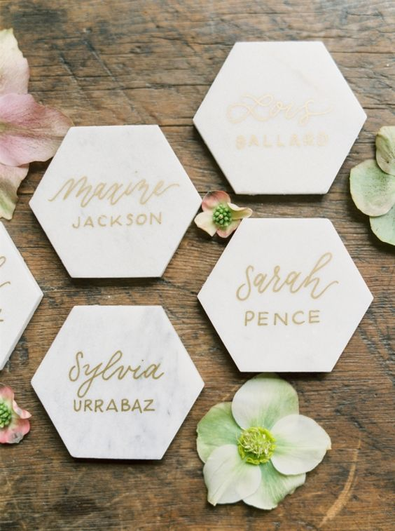 marble honey comb escort cards