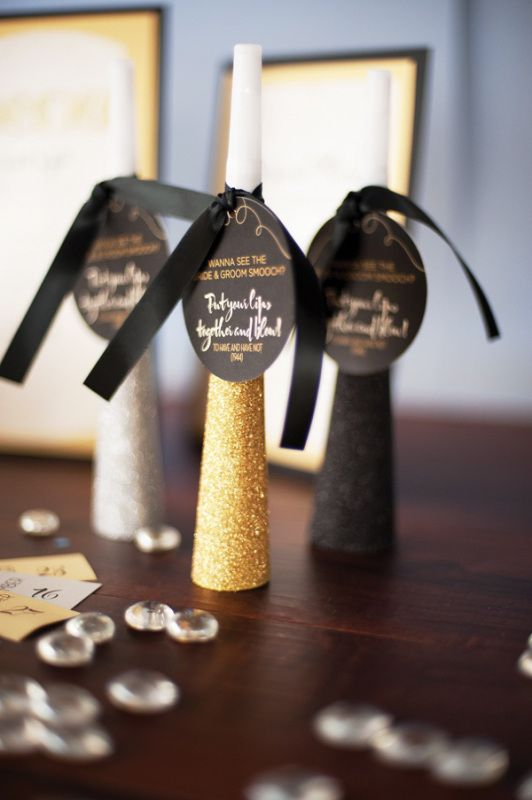 noisemakers will be great for New Year nuptials, take glitter ones
