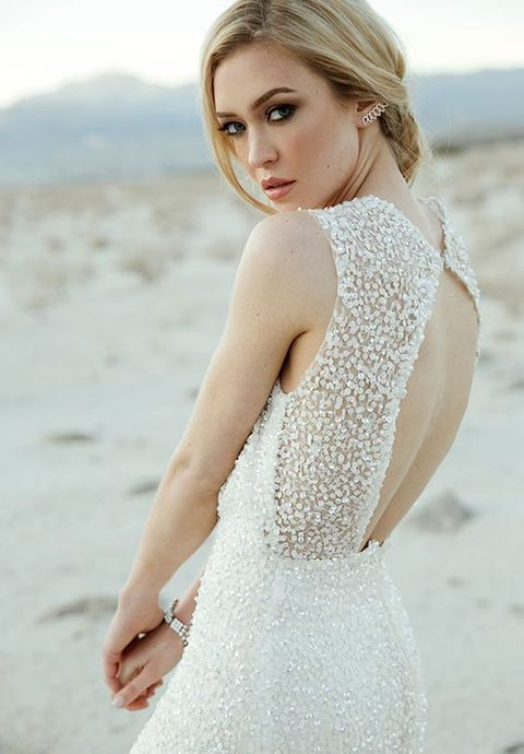 pearls all over the bodice will highlight that it's a coastal wedding