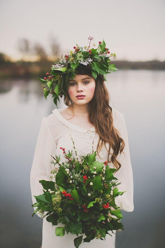 whimsy oversized greenery crown with berries and thistle