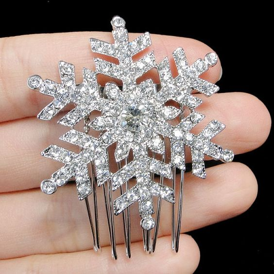 Swarovski crystal bridal snowflake hair comb