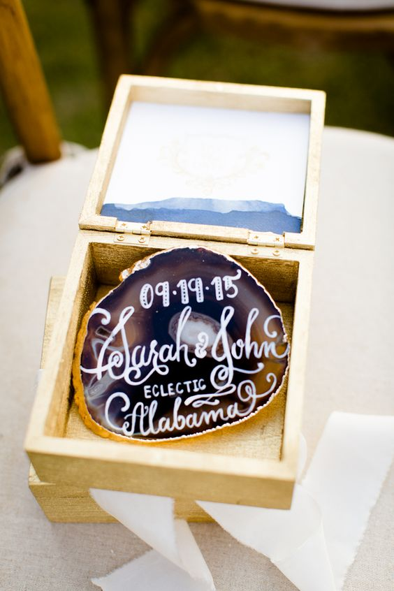 agate slice coasters with your names and wedding date