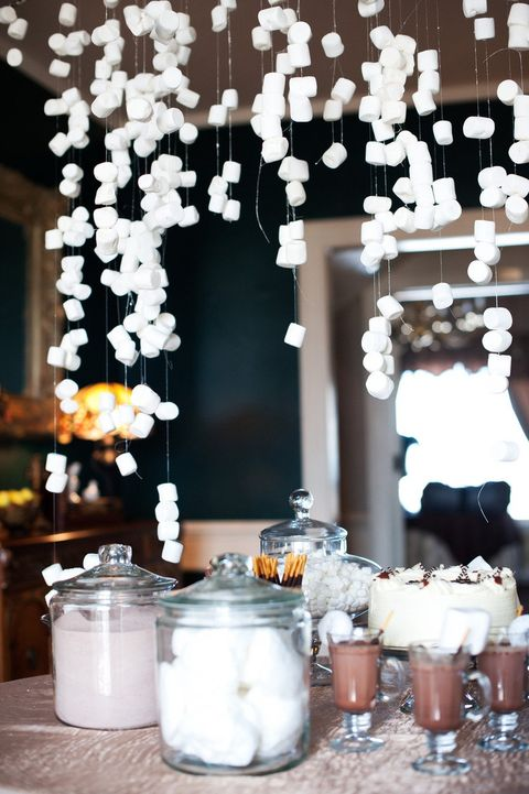 hang marshmallows above for decor and to eat them