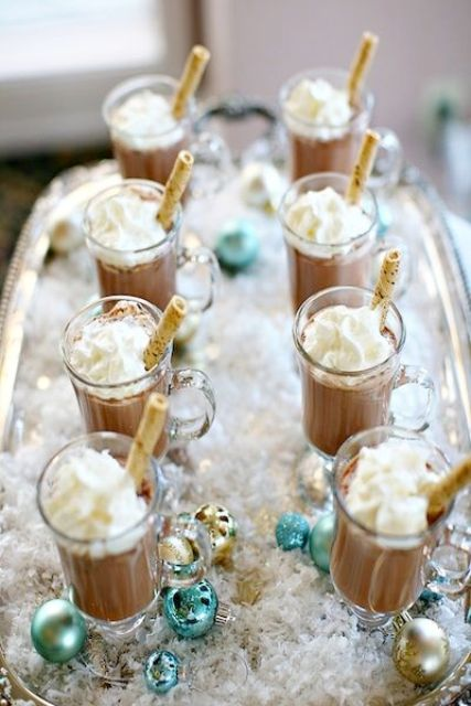 hot cocoa with marshmallows is a great idea for a wedding bar