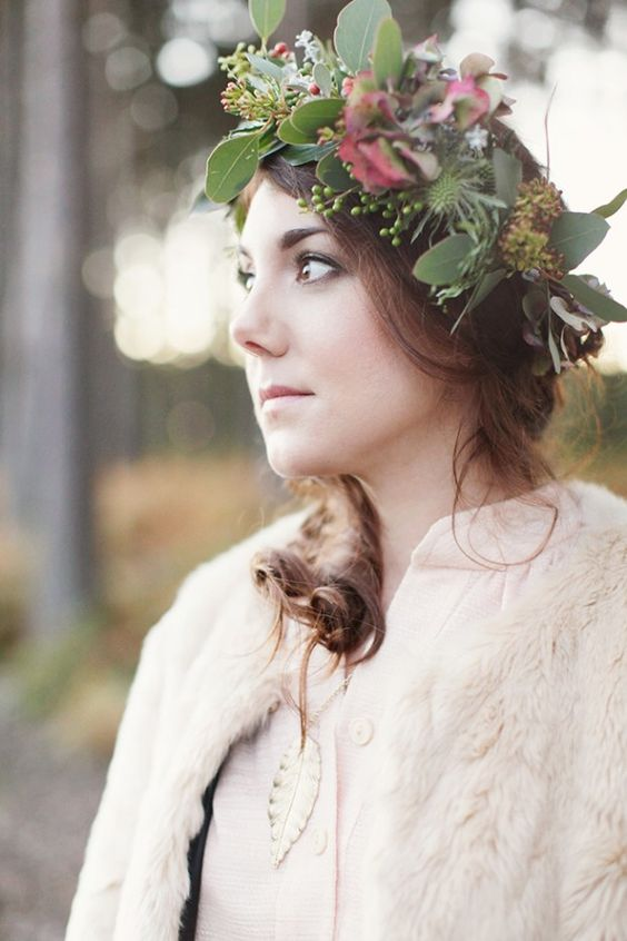 wild greenery and thistle bridal crown for forest brides