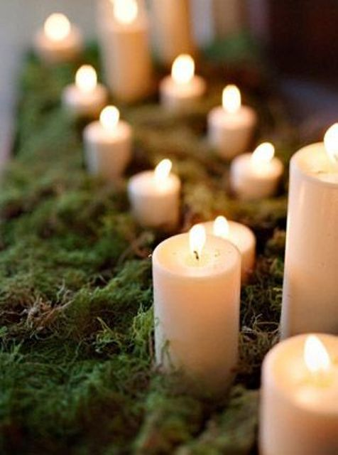pillar candles dressed up with moss, which screams forest