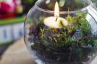 36 glass terrarium filled with moss and a candle can become a cool yet simple centerpiece