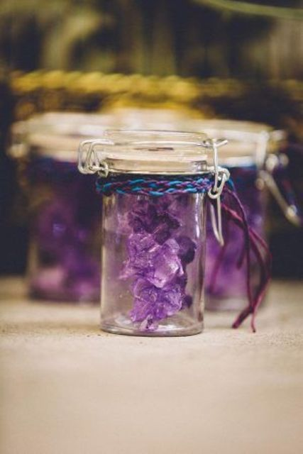 little crystal wedding favors in jars