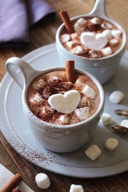 chocolate with marshmallows and cinnamon
